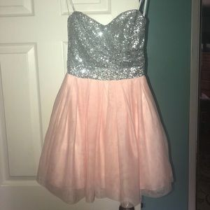 silver sparkly/light pink formal dress